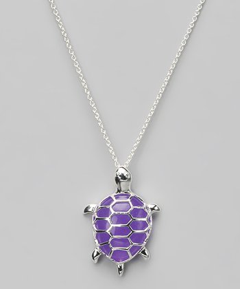 Lavender Jade & Sterling Silver Turtle Pendant Necklace