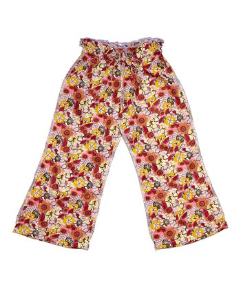 Burgundy Floral Ceca Pants - Infant, Toddler & Girls