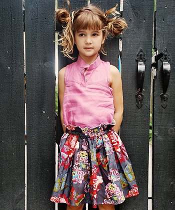 Burgundy Floral Skirt - Toddler & Girls