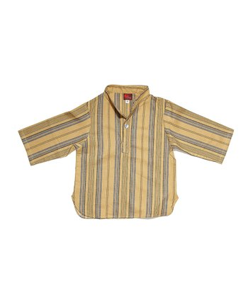 Blue & Beige Stripe Shirt - Infant, Toddler & Boys