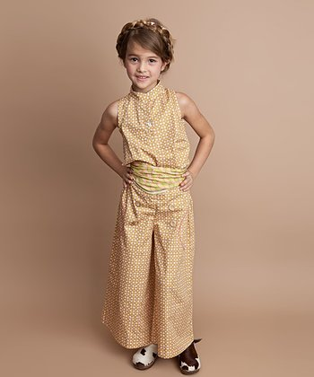 Pink & Gold Gingham Palazzo Pants - Toddler & Girls