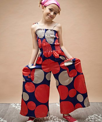 Silver & Red Polka Dot Jumpsuit - Infant, Toddler & Girls