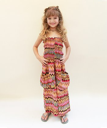 Orange Aztec Silk-Blend Jumpsuit - Infant, Toddler & Girls