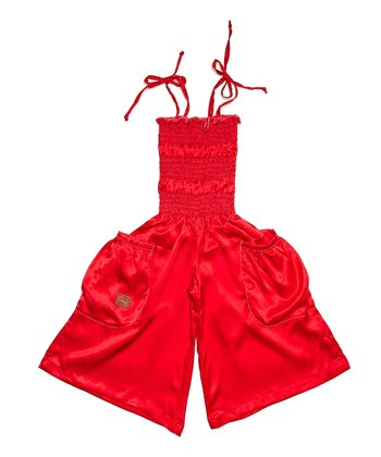 Red Silk Jumpsuit - Infant, Toddler & Girls