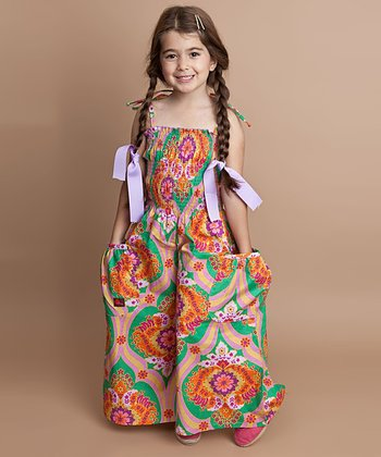 Baroque & Green Floral Silk Jumpsuit - Infant, Toddler & Girls