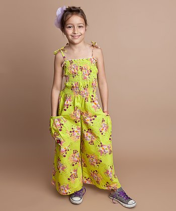 Kiwi Floral Bouquet Silk Jumpsuit - Infant, Toddler & Girls