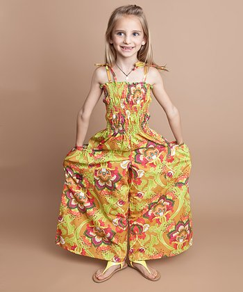 Mustard Floral Silk Jumpsuit - Infant, Toddler & Girls