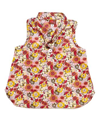 Burgundy Floral Blouse - Toddler