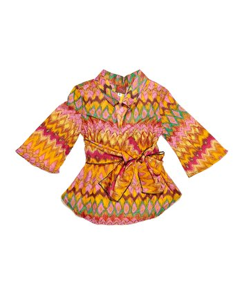 Orange Aztec Silk-Blend Tunic - Toddler