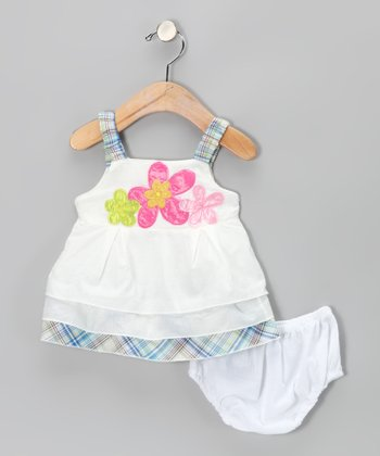 White Flower Dress & Diaper Cover - Infant