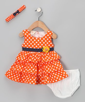 Orange Polka Dot Ruffle Dress Set - Infant