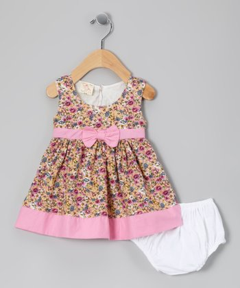 Tan & Light Pink Floral Dress & Diaper Cover - Infant
