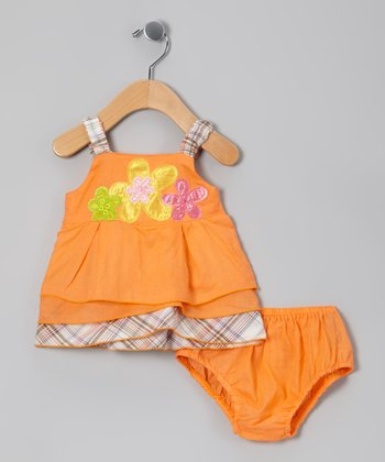 Orange Flower Dress & Diaper Cover - Infant