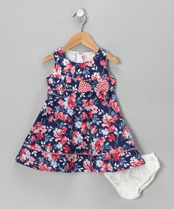 Blue & Red Garden Dress & Diaper Cover - Infant