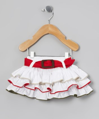 White & Red Belted Tiered Skirt - Infant, Toddler & Girls