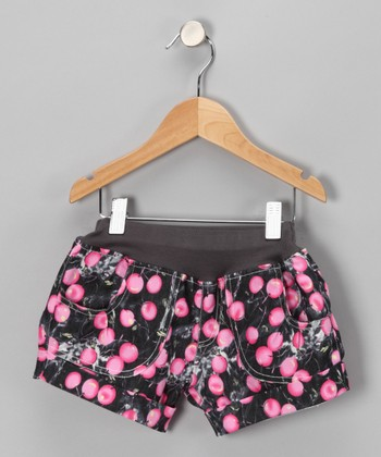 Black & Pink Cherry Denim Shorts - Infant, Toddler & Girls