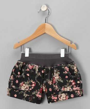 Peach Floral Denim Shorts - Infant, Toddler & Girls