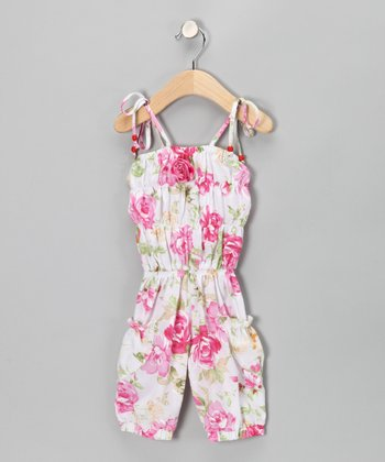 White & Pink Floral Romper - Infant, Toddler & Girls