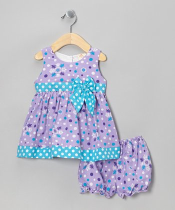 Purple Dot Dress & Bloomers - Infant
