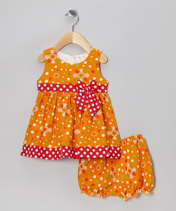 Orange Dot Dress & Bloomers - Infant