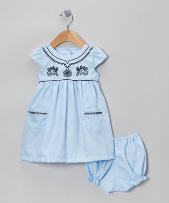 Baby Blue Cap-Sleeve Dress & Bloomers - Infant & Toddler