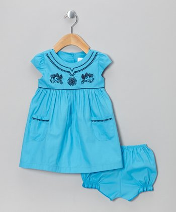 Blue Cap-Sleeve Dress & Bloomers - Infant & Toddler