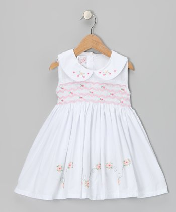White Rose Smocked Dress - Toddler & Girls