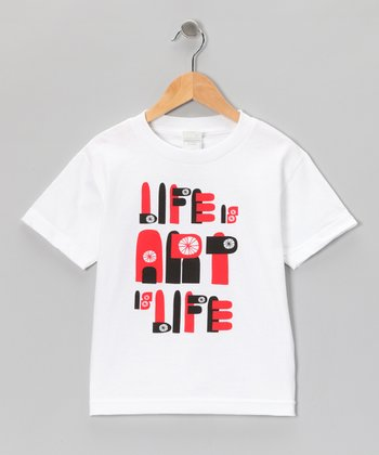 White 'Life Is Art Is Life' Tee - Toddler & Boys