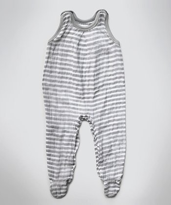 Gray Stripe Muslin Sleeveless Footie