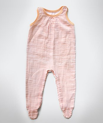 Peach Stripe Muslin Sleeveless Footie