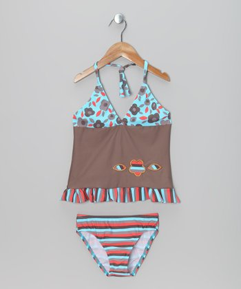 Turquoise & Brown Flower Skirted Tankini - Girls