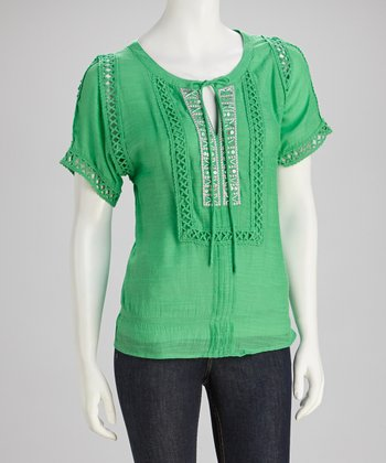 Green Beaded Crochet Top