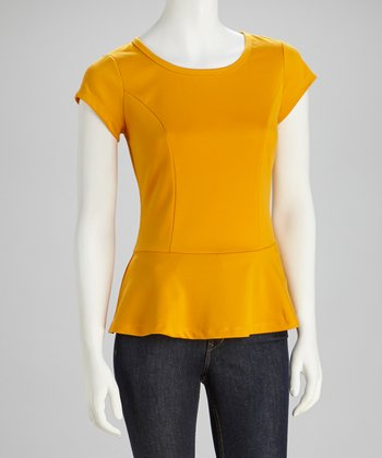 Mustard Lace Peplum Top