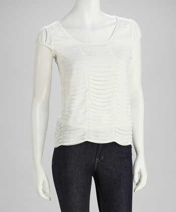 White Chiffon Cap-Sleeve Top