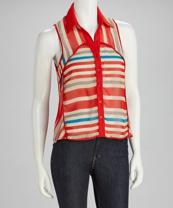 Coral Stripe Button-Up Tank