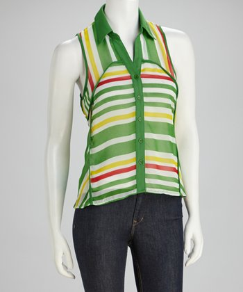 Green Stripe Button-Up Tank
