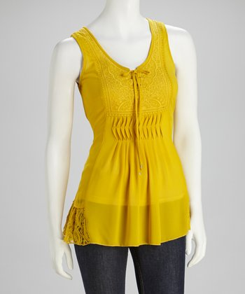 Mustard Lace Embroidered Tank