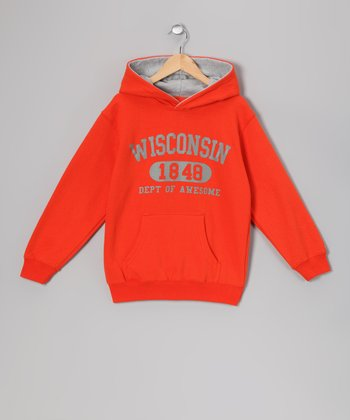 Orange 'Wisconsin' Hoodie - Kids