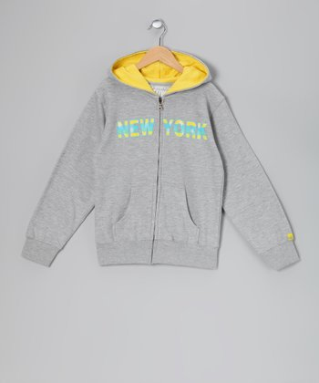 Gray 'New York' Zip-Up Hoodie - Kids