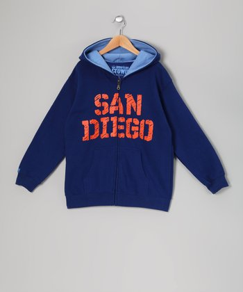 Blue 'San Diego' Zip-Up Hoodie - Kids
