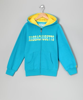 Aqua 'Massachusetts' Zip-Up Hoodie - Kids
