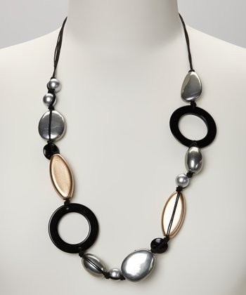 Silver & Gold Pebble Necklace