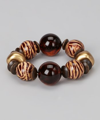 Brown & Gold Tiger Bead Stretch Bracelet