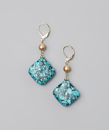 Turquoise & Gold Square Drop Earrings