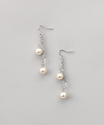 White Pearl & Crystal Duo Earrings
