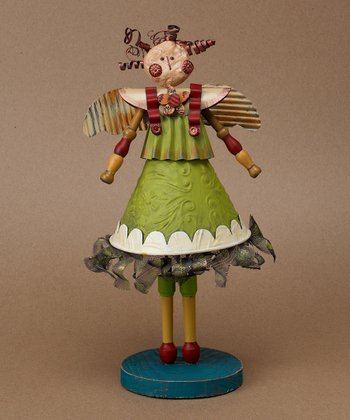 Folk Angel & Flower Figurine
