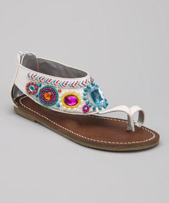 White Miss Jewlz Toe-Ring Sandal