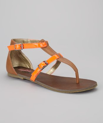 Cognac & Orange Miss Siddy Sandal
