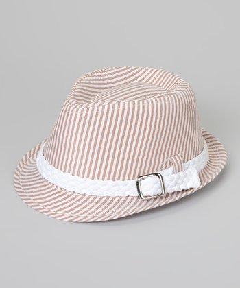 Tan & Cream Stripe Fedora