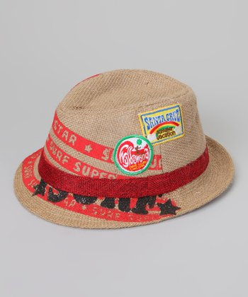 Tan & Red Surfer Fedora